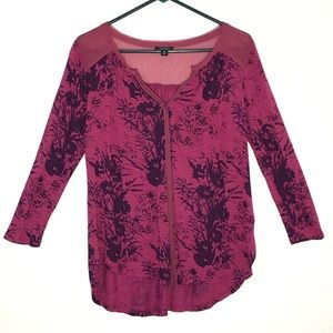 Lucky Brand button down printed blouse
